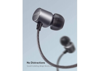 Anker Soundbuds Verve Built-in Microphone in Ear Stereo Wired Headphones (Black + Gray)