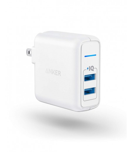 Anker PowerPort II with Dual PowerIQ Ports, 24W-Ultra-Compact Foldable Plug Travel Charger, for iPhone X/8/7/6S/6 Plus, iPad Pro/Air 2/mini 4, Samsung S5, and More