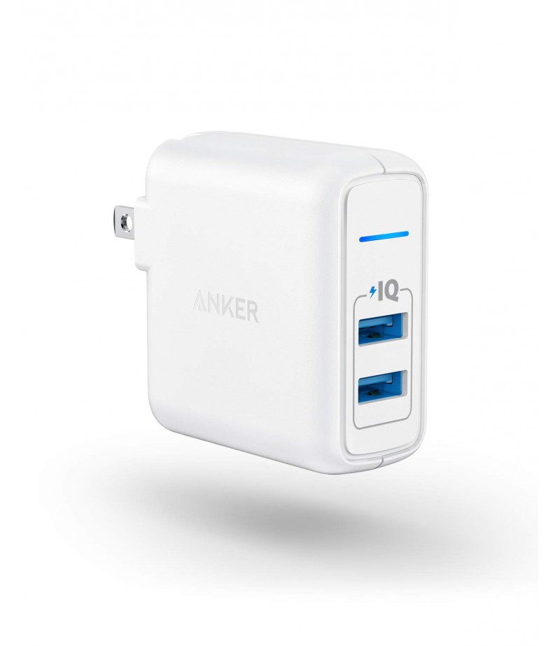 Anker PowerPort II with Dual PowerIQ Ports, 24W-Ultra-Compact Foldable Plug Travel Charger, for iPhone X/8/7/6S/6 Plus, iPad Pro/Air 2/mini 4, Samsung S5, and More-M000000000453 www.mysocially.com
