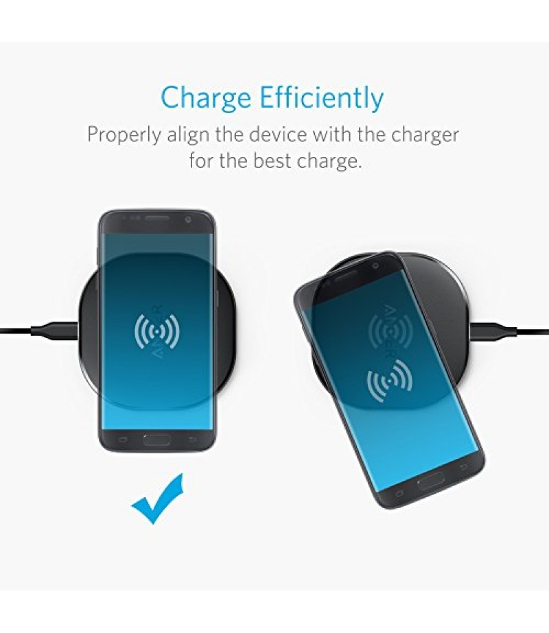 Anker 10W Wireless Charger, Qi-Certified Wireless Charging Pad, PowerPort Wireless 10 for iPhone 8/8 Plus, iPhone X, Samsung Galaxy S9/S9+ and More, Provides Fast-Charging for Galaxy S8/S8+/S7-M000000000257 www.mysocially.com