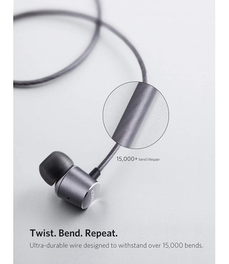 Anker Wired Soundbuds Verve with Built-in Microphone, in Ear Stereo Wired Headphones- Gray-M000000000467 www.mysocially.com