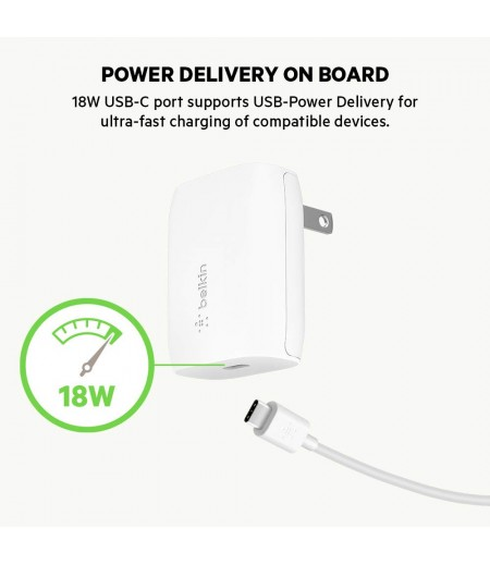 Belkin BOOST ↑ CHARGE USB-C 18W Fast Wall Charger