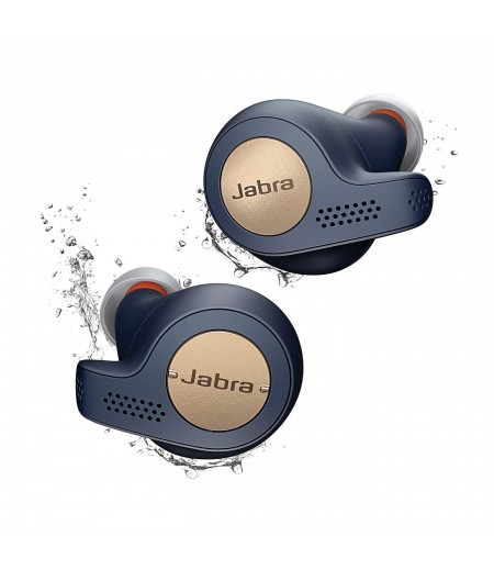 One Touch Jabra Elite Active 65t True Wireless Earbuds and Charging Case for true wireless music, calls and sport, No strings attached- Copper Blue