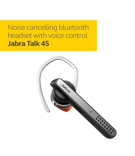 Jabra Talk 45 Bluetooth headset with dual mic noise cancellation for HD hands-free calls, 1-touch voice activation and streaming multimedia- Black-M000000000421 www.mysocially.com