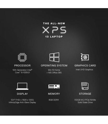 DELL XPS 9300 13.3-inch FHD Laptop (10th Gen Core i5-1035G1/8GB/512GB SSD/Windows 10 Home Plus & MS Office 365- 1Yr Subscription/Intel HD Graphics), Black-M000000000524 www.mysocially.com