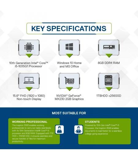 Dell Inspiron 3593 15.6-inch Laptop (10th Gen Ci5-1035G1/8GB/1TB HDD + 256GB SSD/W10+ MSO/2GB NVIDIA MX 250 NVIDIA), Platinum Silver-M000000000287 www.mysocially.com