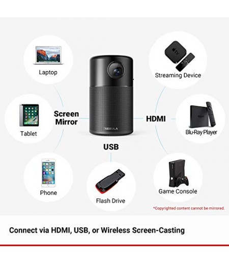 "Anker Nebula Capsule Smart Portable Pico Wifi Wireless Projector, High-Contrast Pocket Cinema, Dlp, 360° Speaker, 100"" Picture, Android 7.1, 4-Hour Video Playtime-M000000000244 www.mysocially.com"