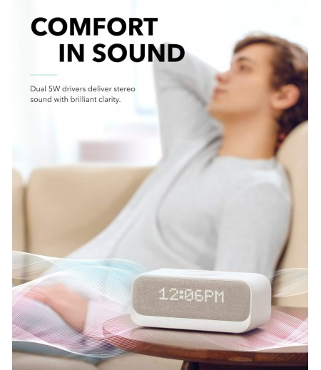 Soundcore Wakey Bluetooth Speakers Powered by Anker with Alarm Clock, Stereo Sound, FM Radio, White Noise, Qi Wireless Charger-M000000000462 www.mysocially.com