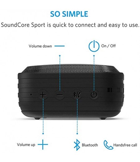 Anker SoundCore Sport (IPX7 Waterproof/Dustproof Rating, 10-Hour Playtime) Outdoor Portable Bluetooth Speaker/Shower Speaker with Enhanced Bass and Built-In Microphone-M000000000246 www.mysocially.com