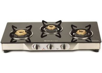 Bajaj Eco Stainless Steel 3 Burner Gas Stove with Manual Ignition (Black / Silver)