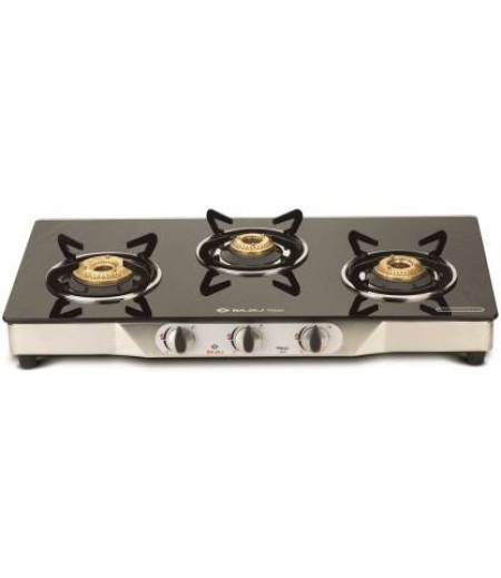 Bajaj Eco Stainless Steel 3 Burner Gas Stove with Manual Ignition (Black / Silver)-M000000000402 www.mysocially.com