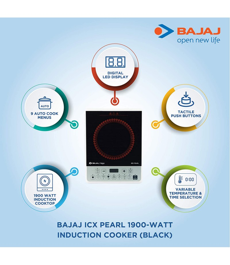 Bajaj ICX Pearl 1900-Watt Induction Cooker (Black)