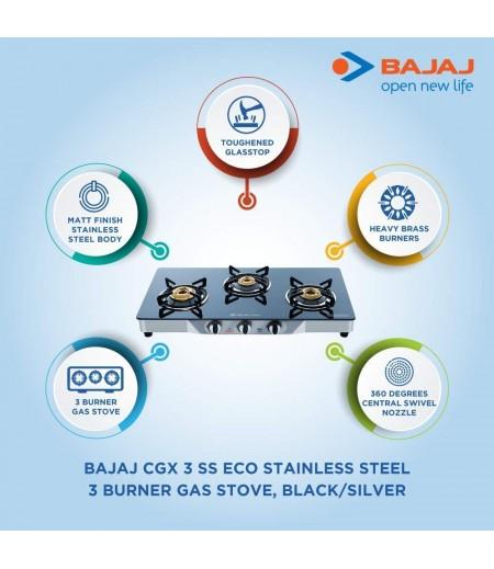Bajaj CGX 3 SS Eco Stainless Steel 3 Burner Gas Stove, Black/Silver-M000000000414 www.mysocially.com