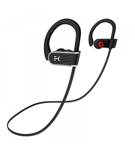 Klef X2 Wireless Bluetooth Headphones/Headset/Earphones with HD Quality Sound, Long Battery Life, Handsfree Mic and Free Travel Pouch/Carry Case (Black)   Waterproof Headphone - Rated IPX 7