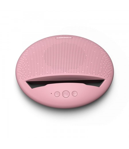 Corseca MuDisc 5W Portable Wireless Bluetooth Deep Bass Stereo Speaker with Mic FM Radio SD Card and Integrated Mobile Rest Stand, Pink