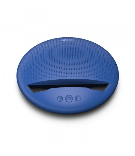 Corseca MuDisc 5W Portable Wireless Bluetooth Deep Bass Stereo Speaker with Mic FM Radio SD Card and Integrated Mobile Rest Stand, Blue