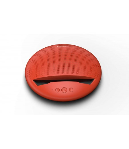 Corseca MuDisc 5W Portable Wireless Bluetooth Deep Bass Stereo Speaker with Mic FM Radio SD Card and Integrated Mobile Rest Stand, Red